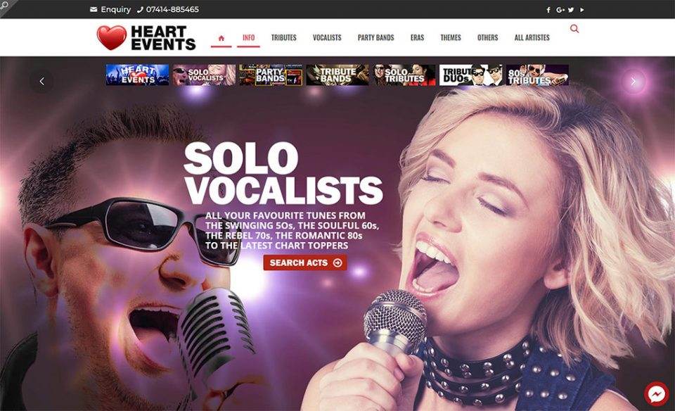 Brand new website for HEART EVENTS Live Music Booking Agency