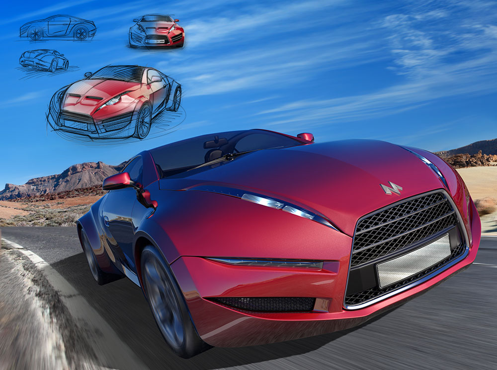 Roxbourne web design and marketing - red concept car